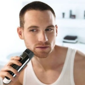 guy using 7300 beard trimmer